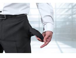 Konkurs - Insolvenz - Pleite - leere Taschen